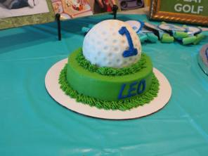 cake, golf, first birthday